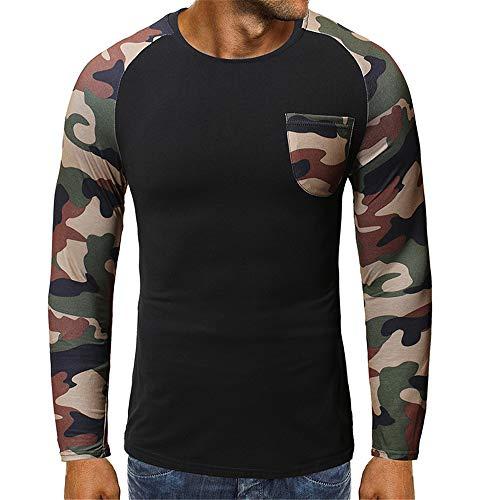 Hombres Primavera y Otoño Ocio Deportes Fitness Running Transpirable Cálido Manga Larga Camisa Cuello Redondo Costura Camuflaje Camiseta Pullover