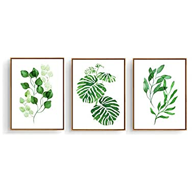Hepix Canvas Wall Art 3 Pieces Tropical Green Leaves Painting for Modern Home Decor Stretched and Framed Ready to Hang 13 x 17 inch