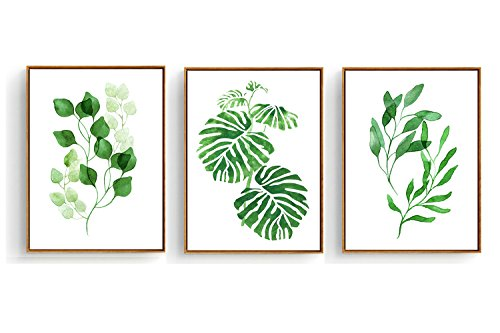 Hepix 3 PCS Canvas Wall Art Tropical Palm Wall Decor Watercolor Green Leaves Wall Paintings Framed Modern Home Decorations Ready to Hang 13 x 17 inch