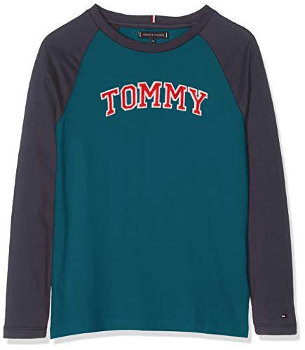 Tommy Hilfiger Tommy Applique Logo L/s Tee Maglia a Maniche Lunghe, (Blue Carnum), 116 (Taglia Produttore: 6) Bambino