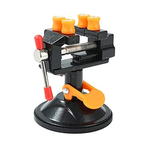 Bestgle Mini Abrazadera de Mesa Tornillo de Banco con Base Giratoria de 360 Grados para joyería de nogal nuclear reloj de reparación Table Vise(negro)