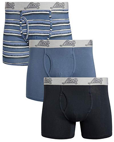 Lucky Brand Mens 3 Pack Cotton Stretch Boxer Briefs (X-Large, Blue/Indigo Print/Indigo)'
