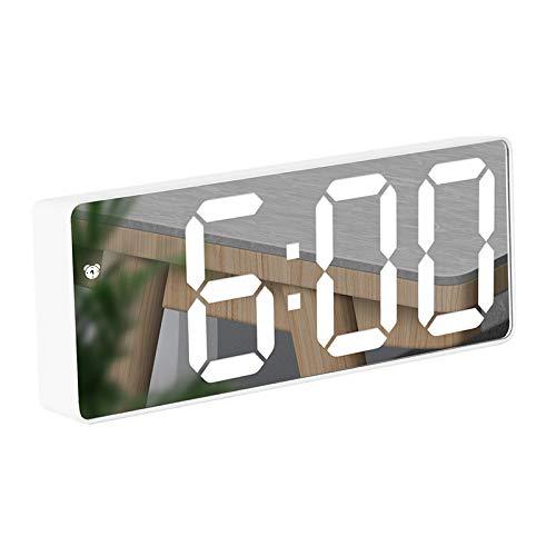 """KLHY Reloj Despertador, Digital Pantalla LED Espejo Grande de 6.5 """" con Temperatura/Fecha/Ajustable Brillo, Snooze Reloj Digital para Dormitorio/Viajes/Oficina/Cocina, USB y Funciona con Pilas-Blanco"""