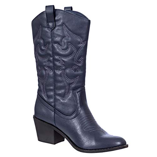Charles Albert Women's Embroidered Modern Western Cowboy Boot in Navy Size: 6