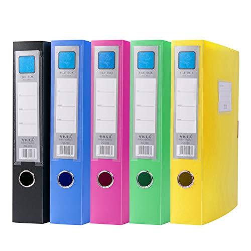TOYANDONA 5pcs coloridos titulares de archivos cajas de documentos de plástico organizador de cajas de almacenamiento de archivos plegables para oficina escolar (colores mezclados)
