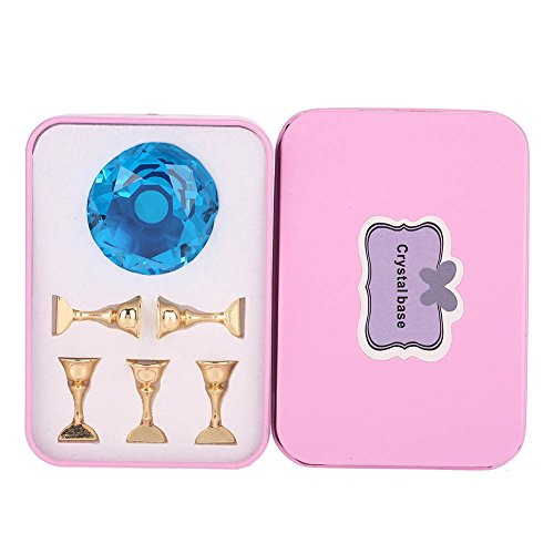 Nail Art Tip Holder Display Stand, 4Colors Magnetic Nail Tip Practice Stand Alloy Nail Tips Stand Base Tool for Salon DIY and Practice Manicure(3#)