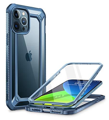 SUPCASE Funda iPhone 12 Pro Max 6.7 inch [EXOPro Series] 360 Carcasa Trasera Transparente con Protector de Pantalla Integrado para iPhone 12 Pro Max - Azul