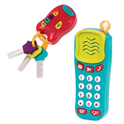 Battat BT2629Z – Spielzeug Schlüssel und Handy mit Lichtern und Tönen – Schlüsselbund und Spielzeugtelefon für Kinder und Babys ab 10 Monaten (2 Teile)