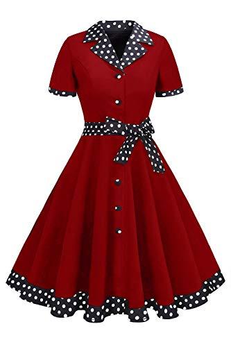 MisShow Damen 50er Jahre Kleidung Audrey Hepburn Rockabilly Kleid mit Kurz Arm Weinrot L