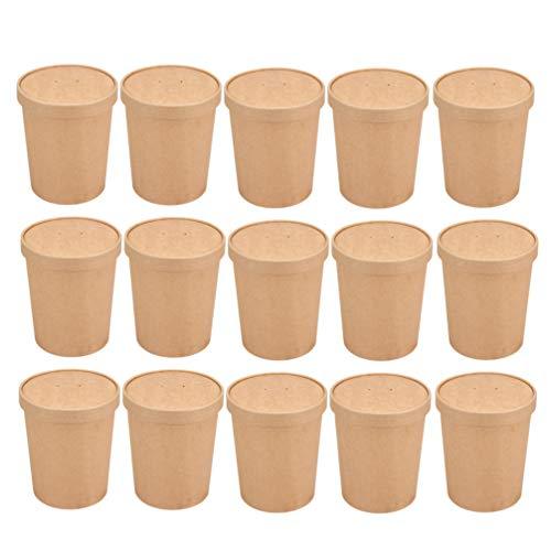 NUOBESTY Sopa Desechable Marrón Helado Contenedor Tazón de Papel para Llevar Contenedores Tarrinas Redondas Tapas Paquete de 50, 12 Oz (50 Vasos de Papel + 50 Tapa de Papel)