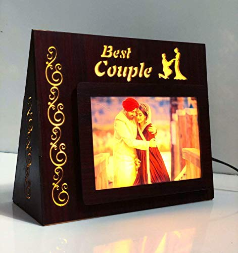 PRECIOUS GIFTS Wooden LED Photo Personalized Frames for Birthday Anniversary and Couple (Brown)