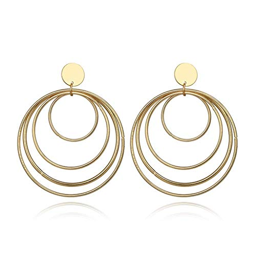 Earrings, Statement Multi Circles Large Hoop Dangle Drop Earrings for Women Gold Tone