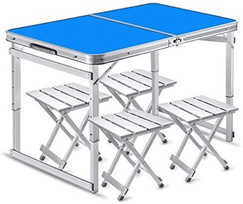 YANGYUAN Mesa plegable de 4 pies, mesa de comedor portátil multipersona, mesa de ocio y silla, para picnic, camping, playa, cocina, barbacoa (color: azul)