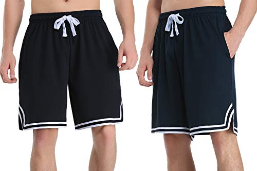 Hawiton Sport Shorts Herren Kurze Hosen Jogginghose Basketball Shorts und Traininghose mit Taschen Kordelzug Streifen Sports Kurze Hose für Fitness Running Gym Strand