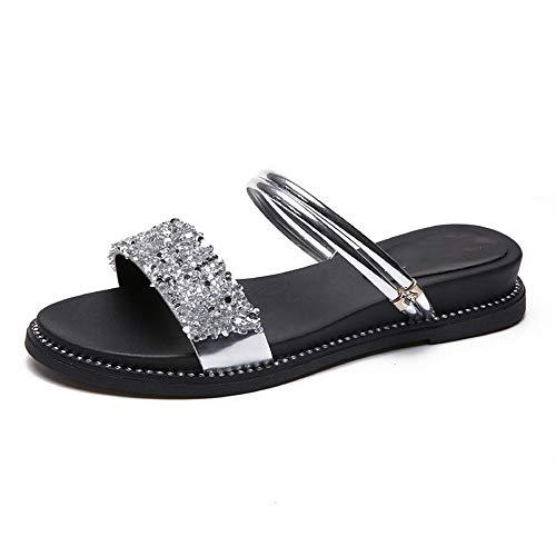 YYLP Sandalias Zapatillas De Verano Planas De Cuero Para Mujer Sandalias Bajas Con Plataforma Abierta