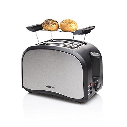 Tristar BR-1022 Edelstahl Toaster - 6 einstellbare Bräunungsstufen mit Brötchenaufsatz - herausnehmbares Krümmelfach