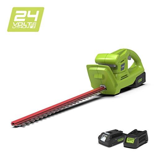 Greenworks 24V Accu-heggenschaar (zonder accu en oplader) Gereedschap + 1 accu 2 Ah + oplader. 47cm groen