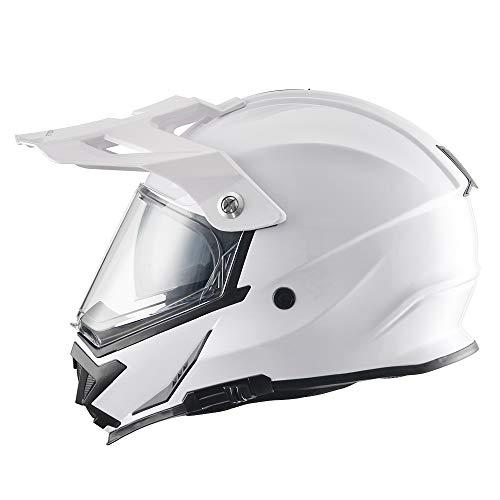 TRIANGLE Motorcycle Modular Full Face Helmet Off-Road Sport ATV Motocross Dirt Bike Dual Visor [DOT Approved ] (Medium, Glossy White)