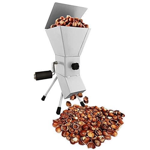 Handkurbel Nussknacker Werkzeug für Nüsse - Einfach zu bedienende Nussknacker Maschine zum Knacken von Nüssen - Tragbares und verstellbares Nussknacker aus Stahl für Haselnüsse (Weiß)