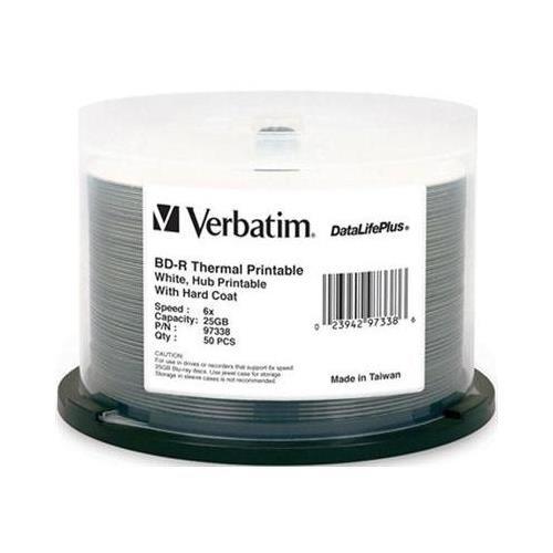 Verbatim DataLifePlus Blu-Ray Cubo térmico branco imprimível 6X BD-R mídia 25GB 50 pacotes em caixa de bolo (97338)