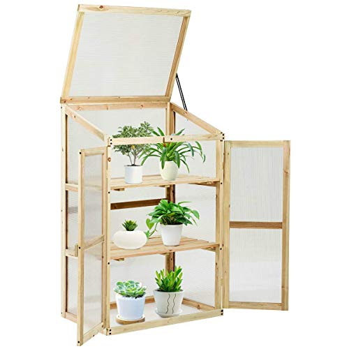 24x18x40 inches Wooden Cold Frame Greenhouse Raised Planter Bed Durable Sturdy Heavy Duty Portable Adjustable for Home Indoor Outdoor Lawn Garden Backyard Flower Plants Vegetable Farmhouse Patio