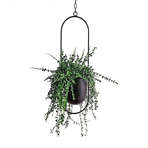 TENMEDARY Hängende Blumenampel Metall Blumentopf Schwarz Pflanzenampel für Innen Außen Terrasse Balkon Zimmerpflanzen, Sukkulenten, Luftpflanzen (Schwarz Oval)