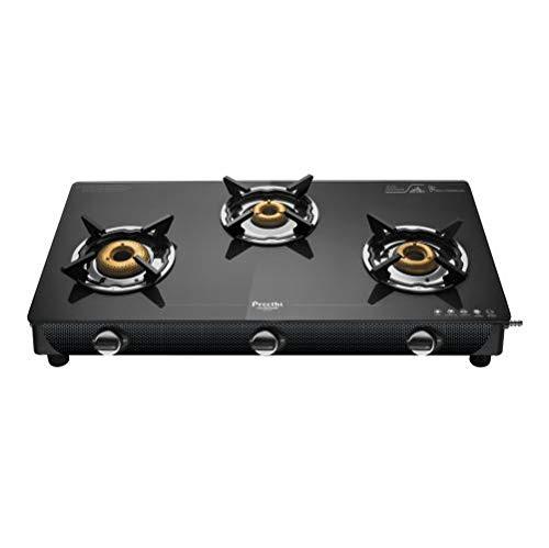 Preethi Valentino Carbon 3 Burner Glass Gas Stove (Black)