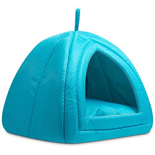 Hollypet - Cama de enfriamiento para gatos y perros pequeños, 15 x 15 x 15 pulgadas, 2 en 1, plegable, cómoda y cómoda casa de nido para verano, color azul