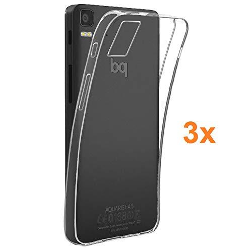 REY 3X Funda Carcasa Gel Transparente para BQ AQUARIS E5, Ultra Fina 0,33mm, Silicona TPU de Alta Resistencia y Flexibilidad