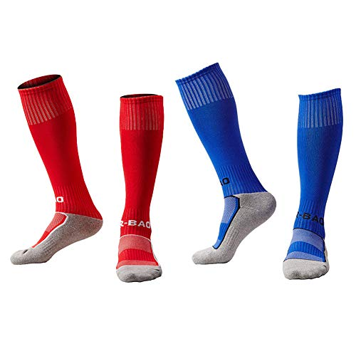 EQLEF Fußballsocken Kinder Lange, Bequeme Kinderfußballsocken atmungsaktiv, stilvolle Fußballsocken für Jungen und Mädchen von 6-10 Jahren EU-Größe 33-37 (2 Paare) (Rot und Blau)