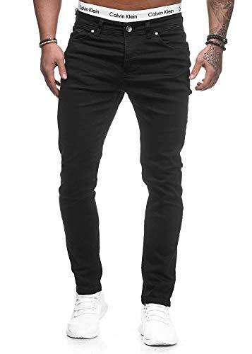 Herren Designer Chino Jeans Hose Basic Stretch Jeanshose Slim Fit W28-W36 Schwarz 5078 W33 L32