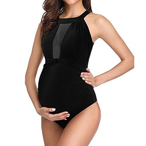 VECDY Bikini Premama Verano, 2019 Elegante Bañadores De Mujer Tallas Grandes Braga Alta Mujer Maternidad Embarazada Tankinis Bikinis Sólido Traje De Baño Una Pieza Ropa De Playa (Negro,XL)