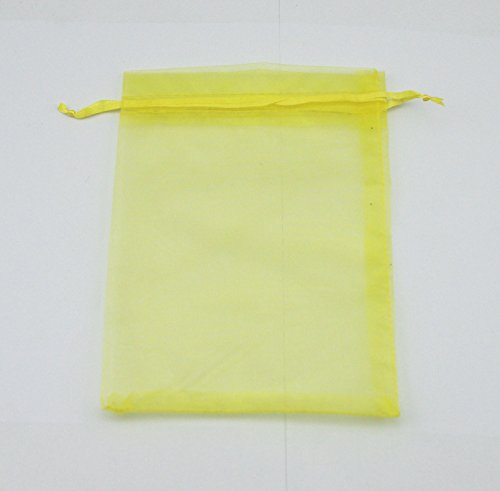 AEAOA 4x6 Inch Organza Bags Drawstring Wedding Favor Bags Organza Gift Pouches Bags for Wedding Jewelry Party (100 Pieces, Lemon Yellow)