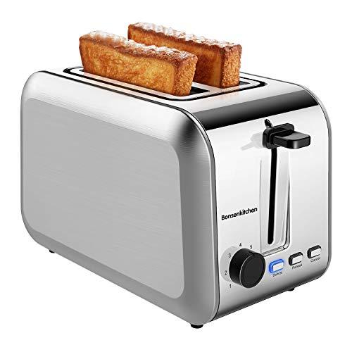 Bonsenkitchen Grille Pain 2 Tranches en Acier Inoxydable avec 7 Niveaux de brunissage et Plateau à Miettes, 750W, Toaster Auto-pop up avec Fonction de Dégivrage, Argenté TA8902