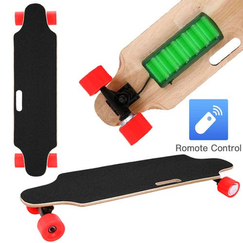 35.4' Electric Skateboard 10km Range 250W Hub-Motor 2.9' Wheels Longboard with Remote Controller Waterproof IP54 (Red)