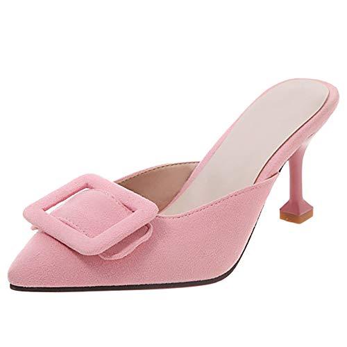 Kaizi Karzi Damen Mode Kitten Heel Sandalen Ohne Verschluss Sommerschuhe Pointed Toe Mules Heels Pink Große 40 Asiatisch