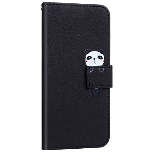Compatible avec Samsung Galaxy A70S Coque Pochette Portefeuille en Cuir Housse Etui à Rabat Animés Animaux Motif Flip Case Magnétique Porte-Carte Fonction de Support,Panda Noir