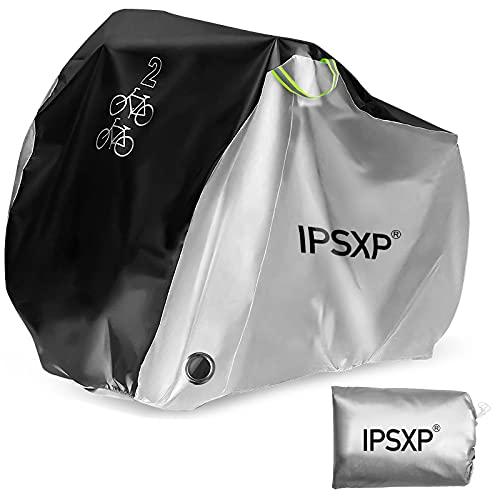 IPSXP Fahrradabdeckung Wasserdicht, Fahrradschutzhülle Fahrradträger für 2 Fahrräder Wasserfest Atmungsaktiv Regenschutz Schutzbezug 208x112x76CM