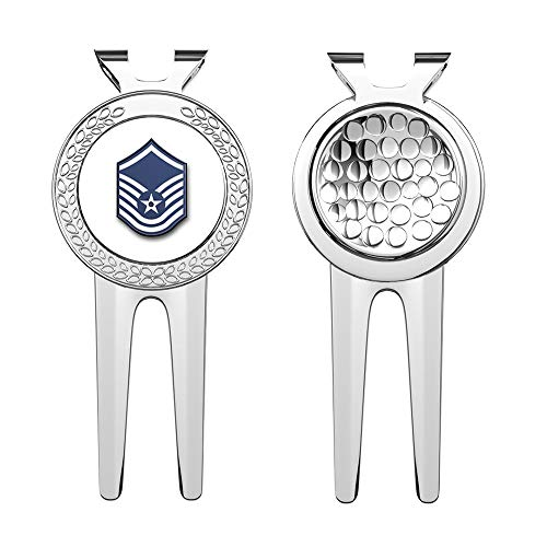 HJ Media US Air Force Master Sergeant (No Diamond) Military Veteran USA Pride Served Golf Divot Repair Tools with Magnetic Ball Marker