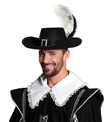 Hut Muskeltier, schwarzer Hut mit Schnalle und 2 Federn, Gr. 58/60, für Karneval Fasching