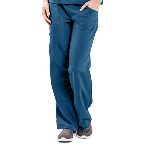 ave Women's Medical Scrub Pants, Pacific ave, Slimming Straight Leg Style Scrub Pant, Cargo Pockets, Great for Nurses, Caribbean Blue, 2X-Large Tall