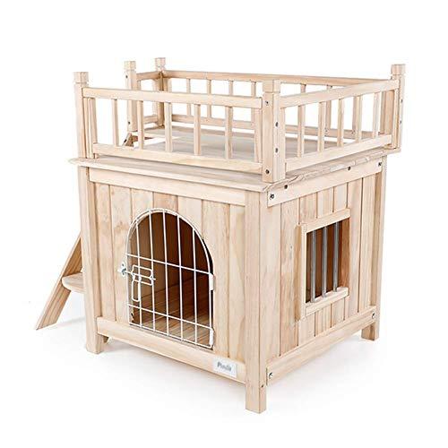PLDDY Hundehütte mit Treppe/Hundehütte aus Holz/Katzenraum / Indoor Outdoor Use, Ideal für Balkon, Hof, Garten, 72,5 × 54,5 × 64 cm