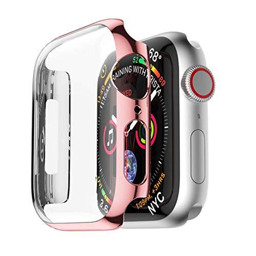 Funda para Apple Watch Case 44mm 40mm iwatch 42mm 38mm PC Protector de Pantalla Accesorios de Parachoques para Apple Watch Serie 6 5 4 3 2 SE-Oro Rosa, 44mm Serie 456 SE