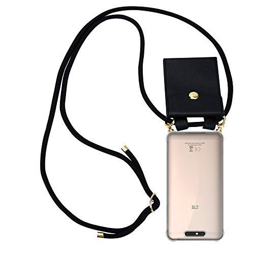 Cadorabo Handy Kette für ZTE Blade V8 in SCHWARZ - Silikon Necklace Umhänge Hülle mit Gold Ringen, Kordel Band Schnur & abnehmbarem Etui – Schutzhülle