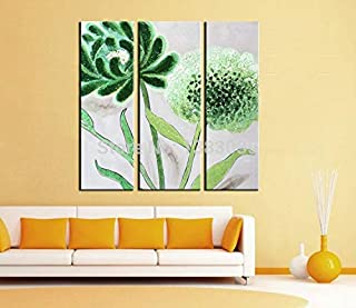 DIU Hand Painted Modern Abstract Canvas Oil Painting Flowers Set Of 3 Piece Wall Art Pictures Home Decoration Living Room