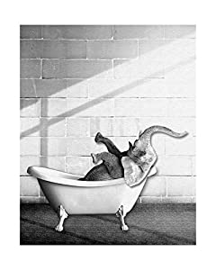 "Elephant In Bathtub Print - 8"" x 10"" - Unframed, Baby Elephant Bathtub, Bathroom Art, Watercolor Elephant, Animal Poster, Nursery Print, Safari Animal, Nursery Wall Art, Kids Decor, Black And White"