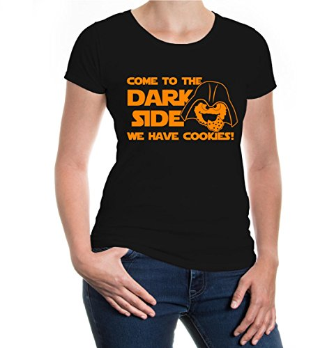 Girlie T-Shirt Come to The Dark Side, we Have Cookies-S-Black-Neonorange