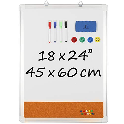 """Whiteboard Bulletin Board Set - 18 x 24"""" Dry Erase / Cork Board with 1 Magnetic Eraser, 4 Dry Wipe Markers, 4 Magnets and 10 Pins - Small Wall Hanging Notice White Tack Board for Home and Office"""