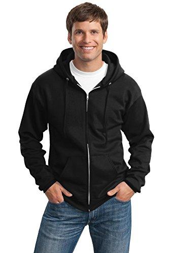 Port & Company Men's Tall Ultimate Full Zip Hooded Sweatshirt LT Jet Black