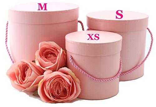 Juego de 3 cajas decorativas redondas en color rosa con cordón rosa, caja decorativa, caja de flores, caja de almacenamiento, caja de sombrero.